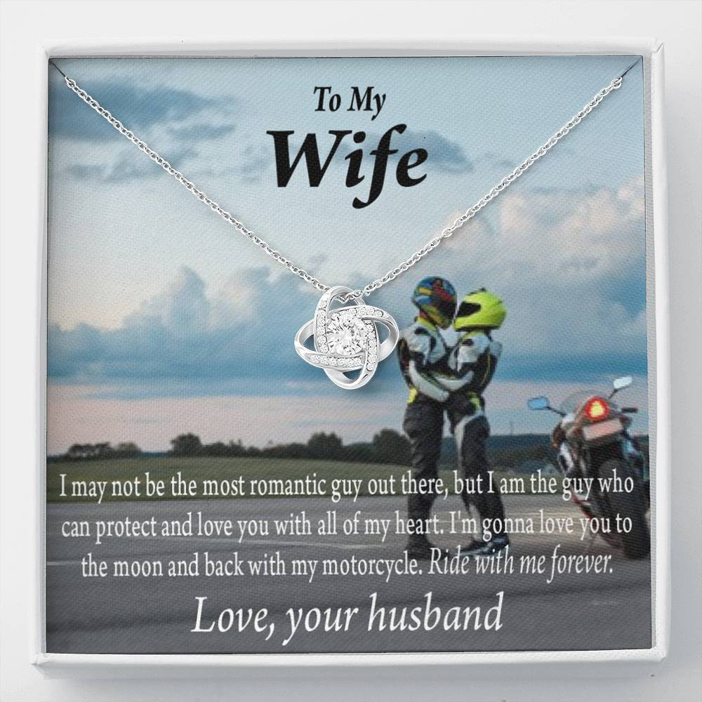 To My Wife Ride With Me Forever Love Knot Necklace Message Greeting Card - Express Your Love Gifts