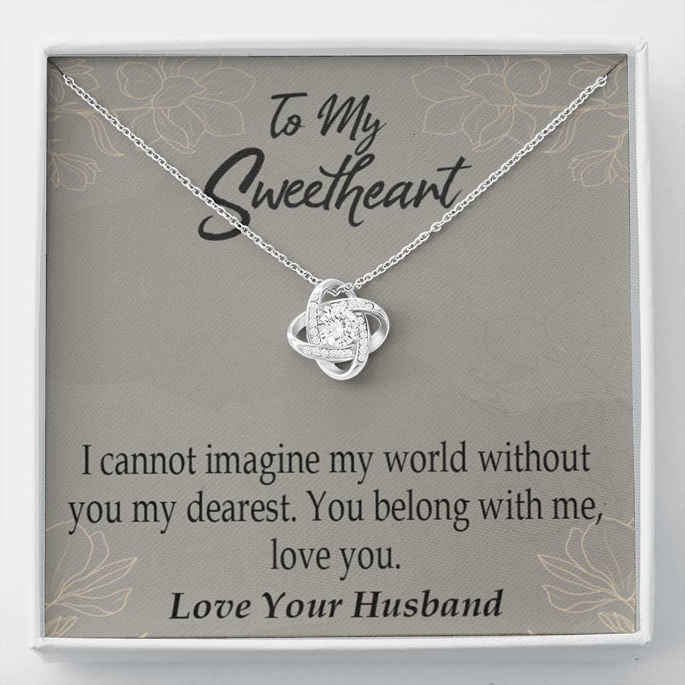 To My Wife You Belong With Me Wife Infinity Knot Necklace Keepsake Message Card Stainless Steel CZ Pendant