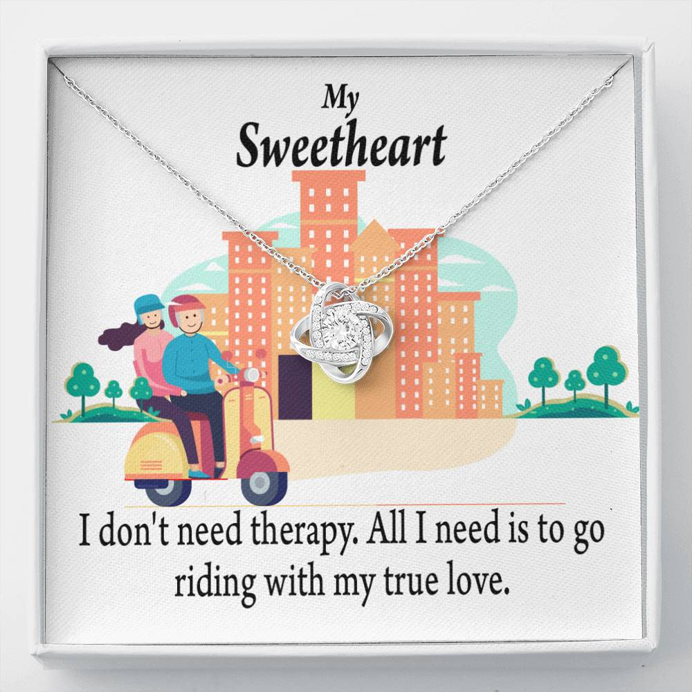 To My Wife  Girlfriend Riding With My Old Man Love Knot Necklace Message Greeting Card - Express Your Love Gifts