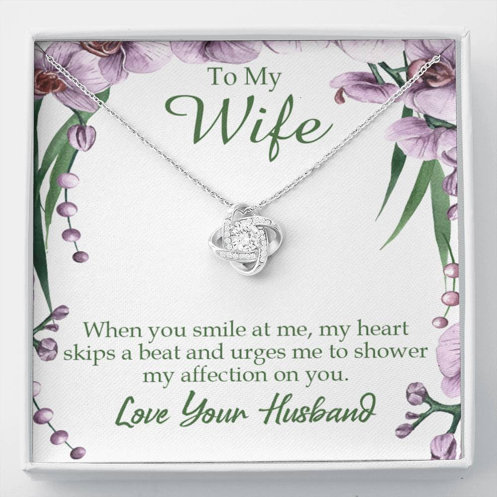To My Wife When You Smile at Me Wife Infinity Knot Necklace Keepsake Message Card Stainless Steel CZ Pendant