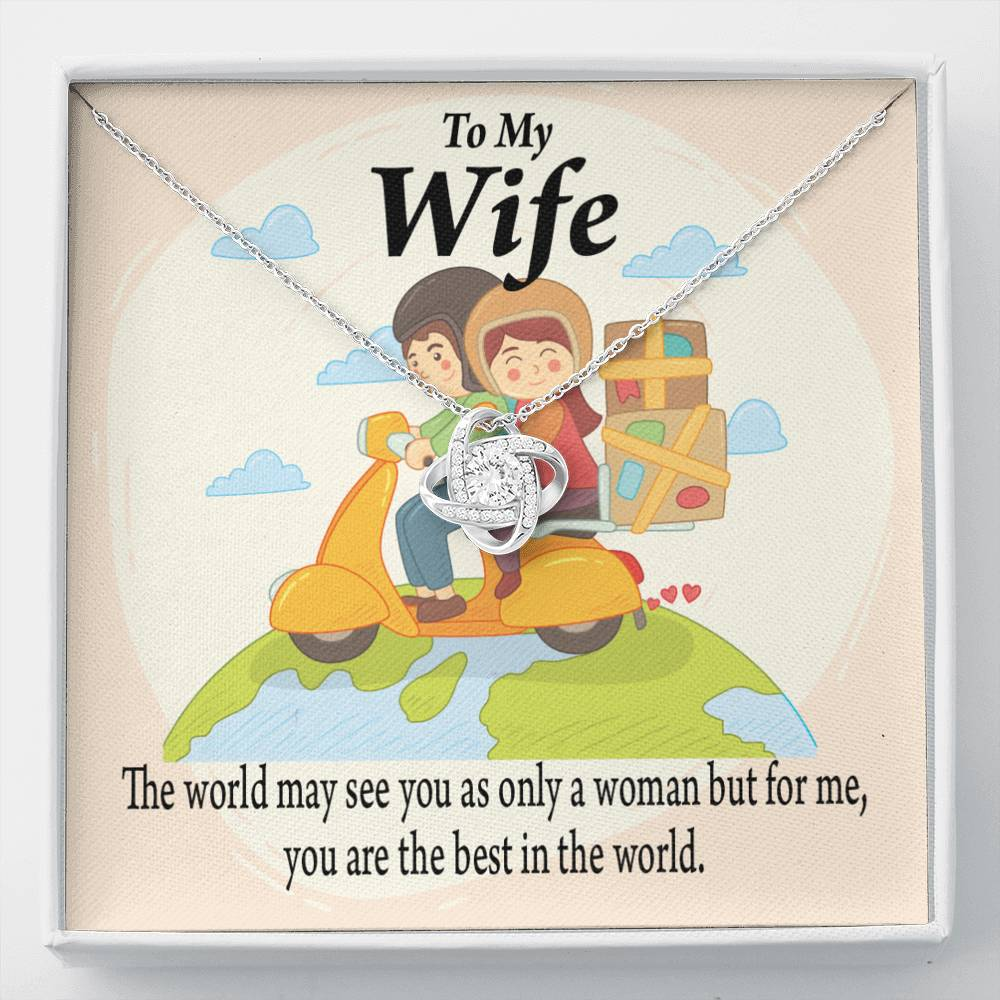 To My Wife  My Woman, My World Love Knot Necklace Message Greeting Card - Express Your Love Gifts