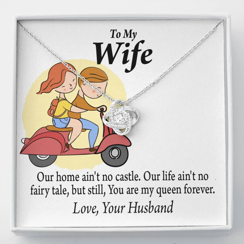 To My Wife Our Home No Castle Love Knot Necklace Message Greeting Card - Express Your Love Gifts