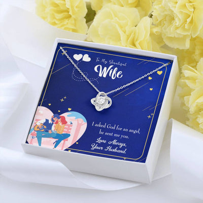 To My Wife I Asked God Wife Infinity Knot Necklace Keepsake Message Card Stainless Steel CZ Pendant