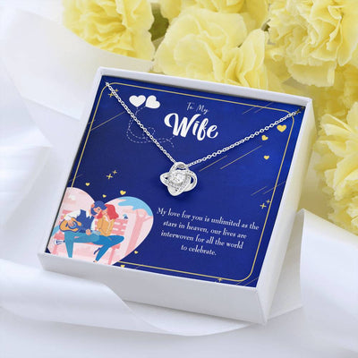 To My Wife Unlimited Love Wife Infinity Knot Necklace Keepsake Message Card Stainless Steel CZ Pendant