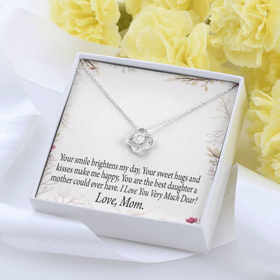 To My Daughter From Mom or Dad Personalized Love Message Card Love Knot Necklace Stainless Steel w Cubic Zirconia Stone
