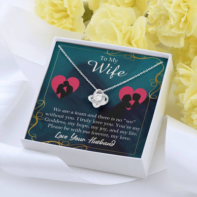 To My Wife We Are a Team Wife Infinity Knot Necklace Keepsake Message Card Stainless Steel CZ Pendant