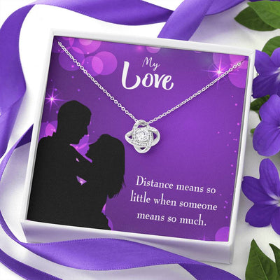 To My Wife Distance Means so Little Wife Infinity Knot Necklace Keepsake Message Card Stainless Steel CZ Pendant