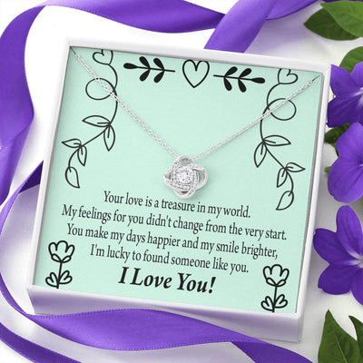To My Girlfriend Lucky with You Love Knot Necklace Stainless Steel w Cubic Zirconia stone