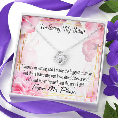 Apology Gift for Her Don't Leave Love Knot Necklace Forgive Me Keepsake Gift