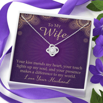 To My Wife Your Kiss Mends My Heart Wife Infinity Knot Necklace Keepsake Message Card Stainless Steel CZ Pendant