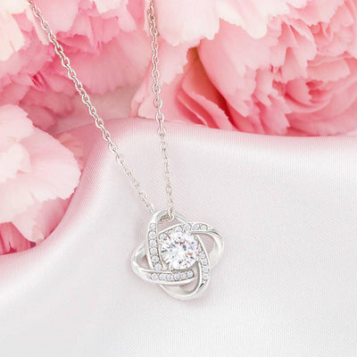 To My Wife Personalized Love Message Card Most Beautiful Woman Love Knot Necklace Stainless Steel w Cubic Zirconia Stone
