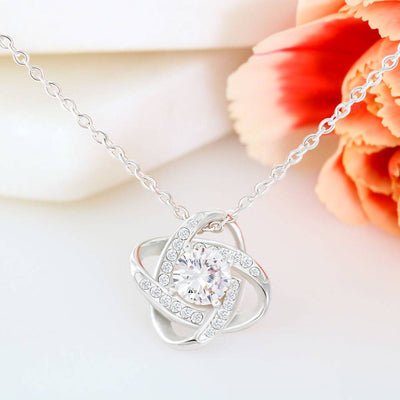 To My Wife Romantic Personalized Birthday Keepsake Card Necklace Love Knot Necklace Stainless Steel w Cubic Zirconia Stone