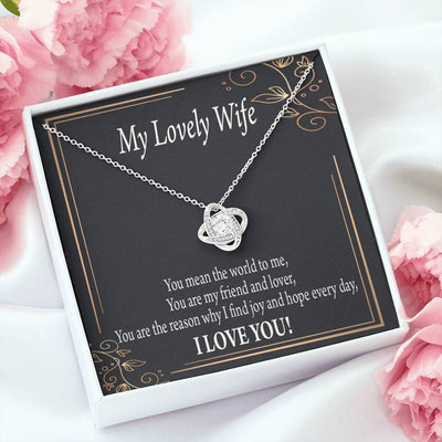 Wife Gift You Are The Reason Love Knot Necklace Stainless Steel w Cubic Zirconia Stone