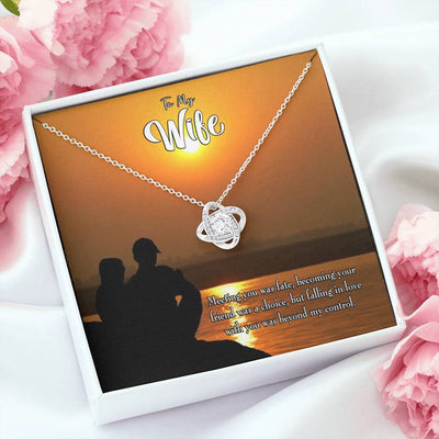 To My Wife You're my Fate Wife Infinity Knot Necklace Keepsake Message Card Stainless Steel CZ Pendant