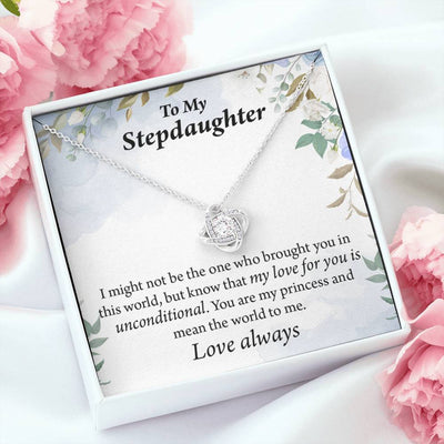 To My Stepdaughter Unconditional Love Message Card Necklace Love Knot Stainless Steel w CZ stone