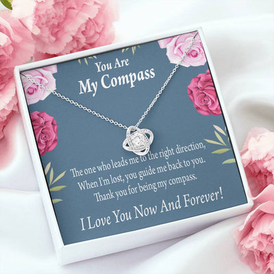 To My Wife Girlfriend You are My Compass Love Knot Necklace Stainless Steel w Cubic Zirconia Stone
