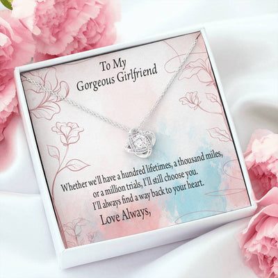 To My Girlfriend Personalized Keepsake Necklace Card Love Knot Necklace Stainless Steel w Cubic Zirconia stone