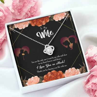 To My Wife Wife by my Side Wife Infinity Knot Necklace Keepsake Message Card Stainless Steel CZ Pendant