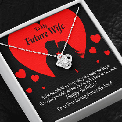 Wife Message Card To My Future Wife Glad To Exist Love Knot Necklace Stainless Steel w Cubic Zirconia stone - Express Your Love Gifts