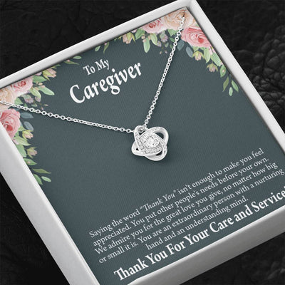 Nurse Gift To My Caregiver Love Knot Necklace Nurse Appreciation Gift Necklace