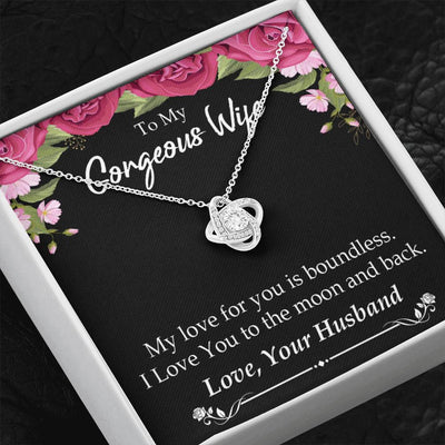 To My Wife My Love For You is Boundless Wife Infinity Knot Necklace Keepsake Message Card Stainless Steel CZ Pendant