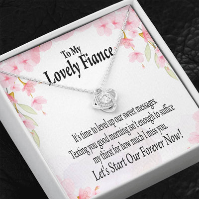 To my Fiance Forever is Now Love Knot Necklace Stainless Steel w Cubic Zirconia stone