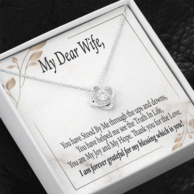 Wife Gift My Dear Wife Love Knot Necklace Stainless Steel w Cubic Zirconia Stone