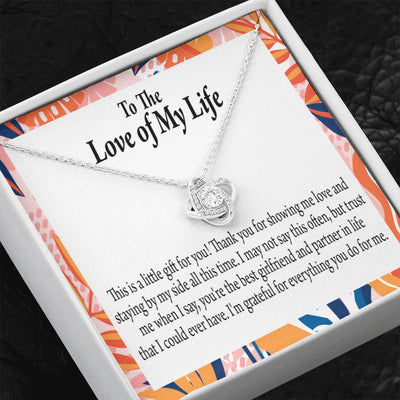 To My Girlfriend Best Girl Love Knot Necklace Stainless Steel w Cubic Zirconia stone