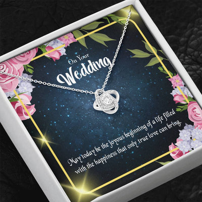 To My Wife On Your Wedding Wife Infinity Knot Necklace Keepsake Message Card Stainless Steel CZ Pendant
