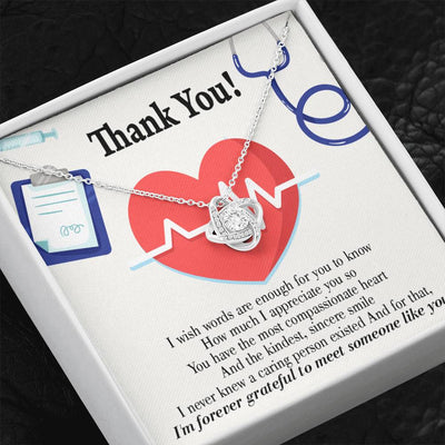 Nurse Gift Forever Grateful Love Knot Necklace Nurse Appreciation Gift Necklace