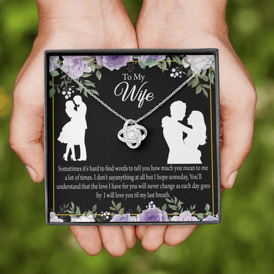 Wife Message Card To my Wife Last Breath Love Knot Necklace Stainless Steel w Cubic Zirconia stone