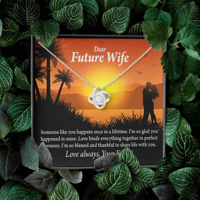 Wife Message Card To My Future Wife Thankful Message Love Knot Necklace Stainless Steel w Cubic Zirconia stone - Express Your Love Gifts