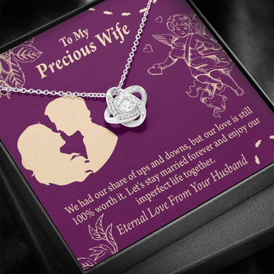 Wife Message Card To My Precious Wife 100% Love Love Knot Necklace Stainless Steel w Cubic Zirconia stone