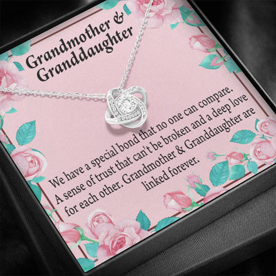 Granddaughter Special Bond Necklace Love Knot Necklace Stainless Steel w Cubic Zirconia Stone