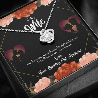 To My Wife Fairytale Life Wife Infinity Knot Necklace Keepsake Message Card Stainless Steel CZ Pendant