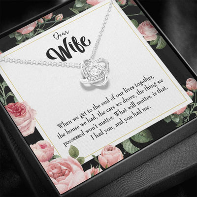To My Wife Have Each Other Wife Infinity Knot Necklace Keepsake Message Card Stainless Steel CZ Pendant