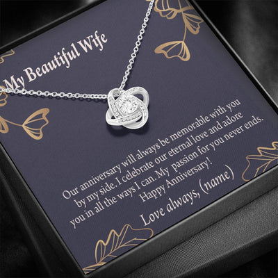 To My Wife Personalized Anniversary Message Card Love Knot Necklace Stainless Steel w Cubic Zirconia Stone