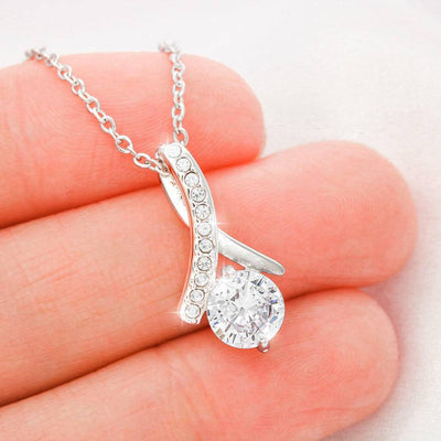 Adorable Wife! Birthday Gift for Wife, Eternity Ribbon Stone Pendant, 14k White Gold Stainless Steel 18-22""
