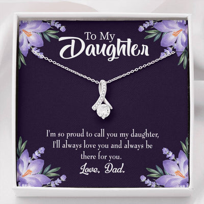 Daughter Jewelry Gift Proud Dad Eternity Ribbon Stone Pendant 14k White Gold Stainless Steel 18-22 Dad to Daughter Gift