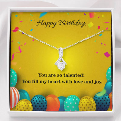 Personalized Message Jewelry Happy Birthday Talented Daughter Eternity Ribbon Stone Pendant 14k White Gold Stainless Steel 18-22