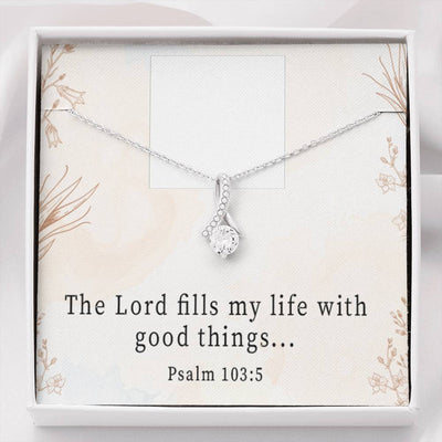 Personalized Message Jewelry, Thanks Psalm 103:5, Eternity Ribbon Stone Pendant, 14k White Gold Stainless Steel 18-22