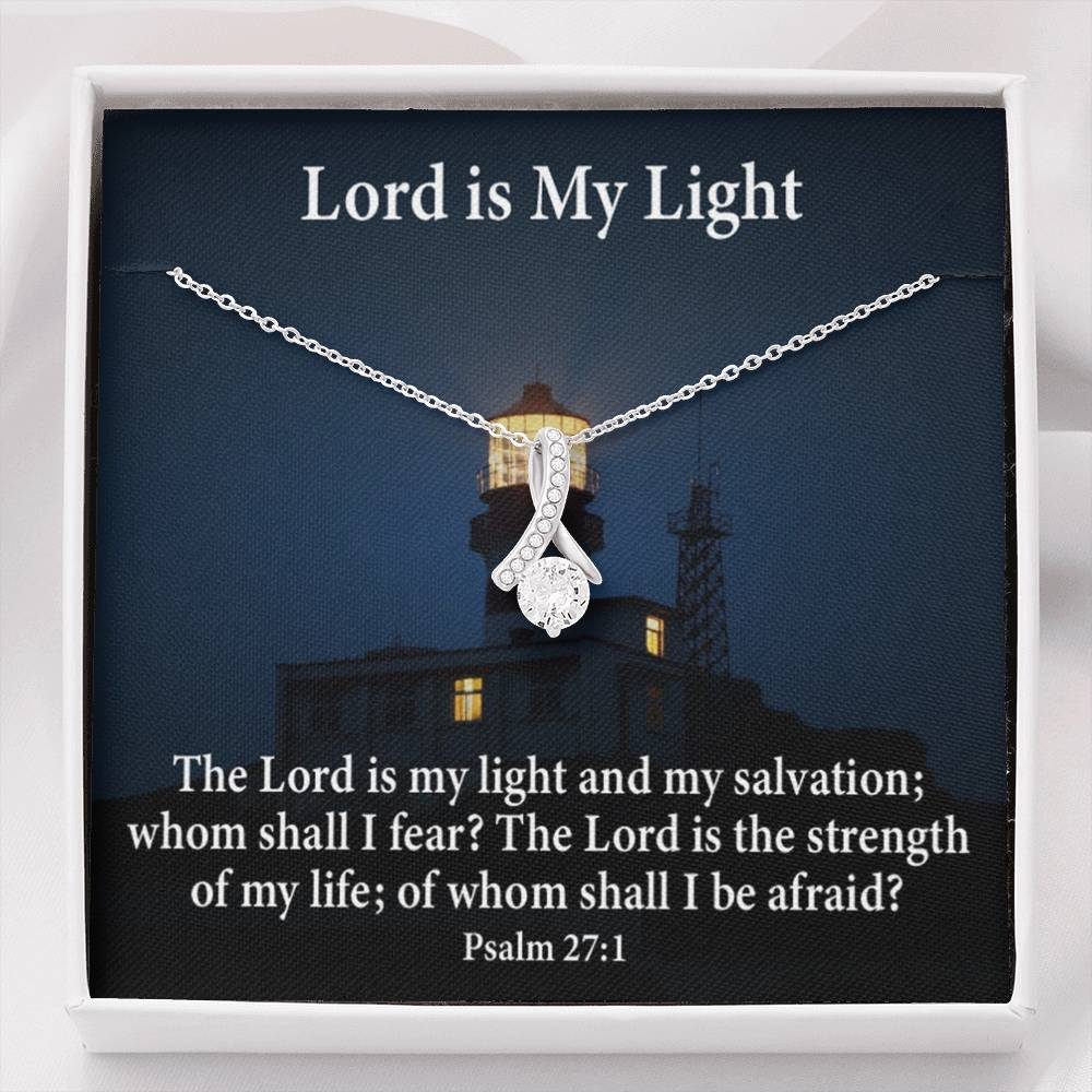 Lord is my Light Inspirational Message Gift Eternity Ribbon Stone Pendant Inspirational Gift Sympathy Gift Christian Gift Bible Verse