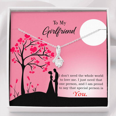 Girlfriend Gift Special Person Eternity Ribbon Stone Pendant 14k White Gold Stainless Steel 18-22