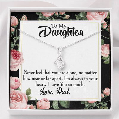 Daughter Jewelry Gift You Are Not Alone Eternity Ribbon Stone Pendant 14k White Gold Stainless Steel 18-22 Dad to Daughter Gift