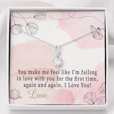 Personalized Message Jewelry Falling in Love Eternity Ribbon Stone Pendant 14k White Gold Stainless Steel 18-22