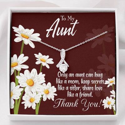 Jewelry Gift Aunt Like Mom Aunt Eternity Ribbon Stone Pendant 14k White Gold Stainless Steel 18-22