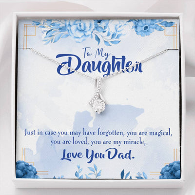Daughter Jewelry Gift, You are My Miracle, Daughter Eternity Ribbon Stone Pendant, 14k White Gold Stainless Steel 18-22, Dad to Daughter Gift