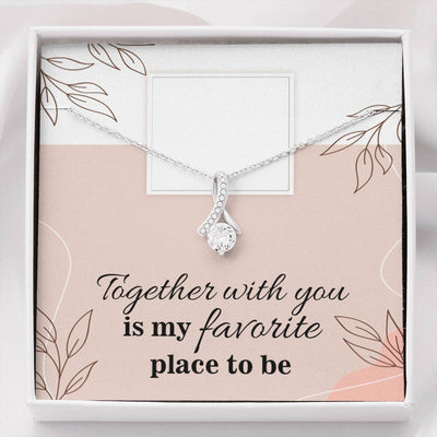 Personalized Message Jewelry Together With You Eternity Ribbon Stone Pendant 14k White Gold Stainless Steel 18-22