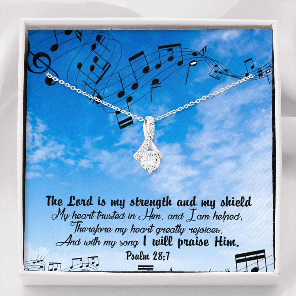 The Lord is my Strength Inspirational Message Gift Eternity Ribbon Stone Pendant Inspirational Gift Sympathy Gift Christian Gift Bible Verse