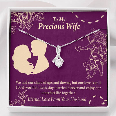 To My Wife To My Precious Wife 100% Love Eternity Ribbon Stone Pendant 14k White Gold Stainless Steel 18-22